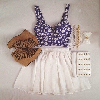 shoes crop tops skirt jewels clutch brown blue white flowers silver gold blouse