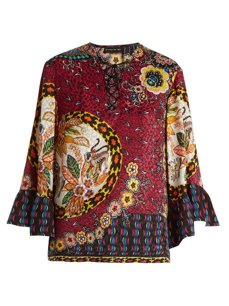 ETRO blouse jacquard lace silk pink top