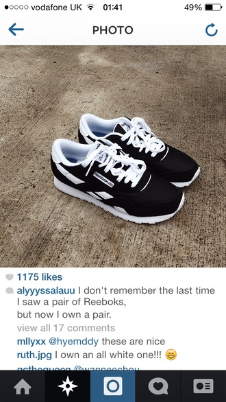 shoes reebok instagram lifestyle reebok classic black and white