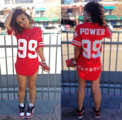 jersey,red top,quote on it,graphic tee,shirt,dress,jersey dress,dope,fashionista