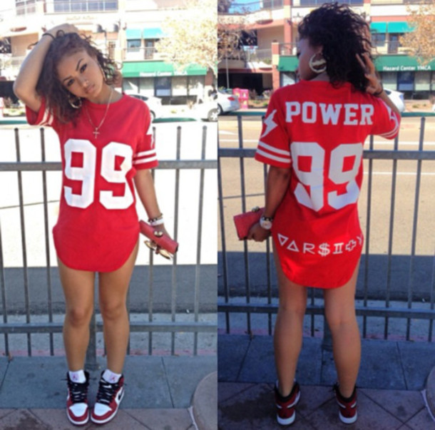 5e39d11ef267 jersey red top quote on it graphic tee shirt dress jersey dress dope  fashionista