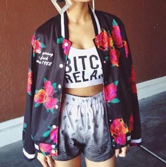 jacket varsity jacket flowers colorful colorful jacket black shorts