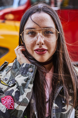 sunglasses nyfw 2017 fashion week 2017 fashion week streetstyle clear lens sunglasses jacket camouflage camo jacket choker necklace black choker