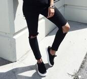pants,ripped jeans,black,black jeans,slip on shoes,vans