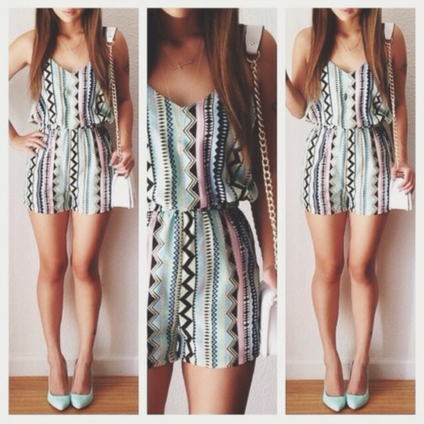 dress cute girl white cool summer beach romper