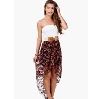 dress floral dress high low high-low dresses belt bow white long