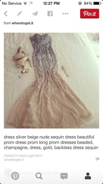 dress nude beads diamonds prom beautiful champagne pink