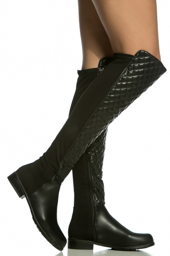Faux Leather Quilted Knee High Boots @ Cicihot Boots Catalog ...