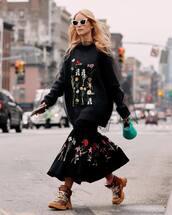 skirt,midi skirt,floral skirt,floral sweater,mesh,handbag,boots,white sunglasses