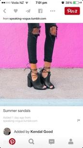 shoes,tie up heels,boots,black jeans,rip jeans,jeans