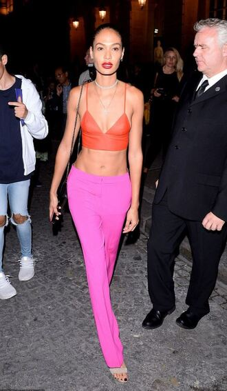 top bralette crop tops red pink streetstyle fashion week 2017 paris fashion week 2017 haute couture joan smalls pink pants