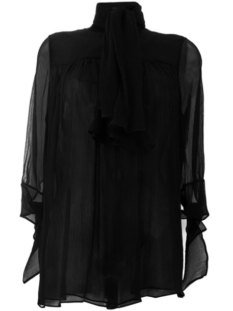 blouse sheer blouse bow sheer women black silk top