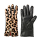 Leopard haircalf zip gloves