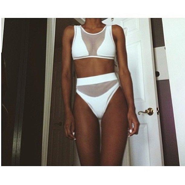 b8048e96077 Minimale Animale topshop black mesh two piece fishnet high waist bikini  swimsuit | eBay