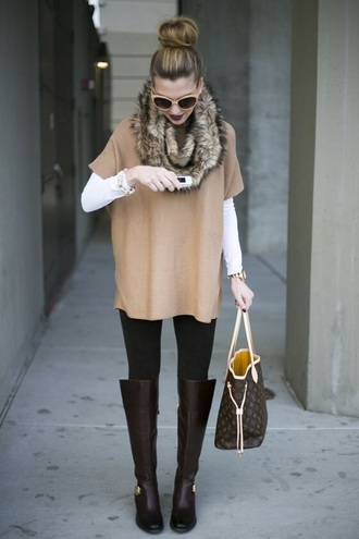 top camel short sleeve scarf style fur fashion cute blouse shirt boots purse glasses hippie glasses brown black