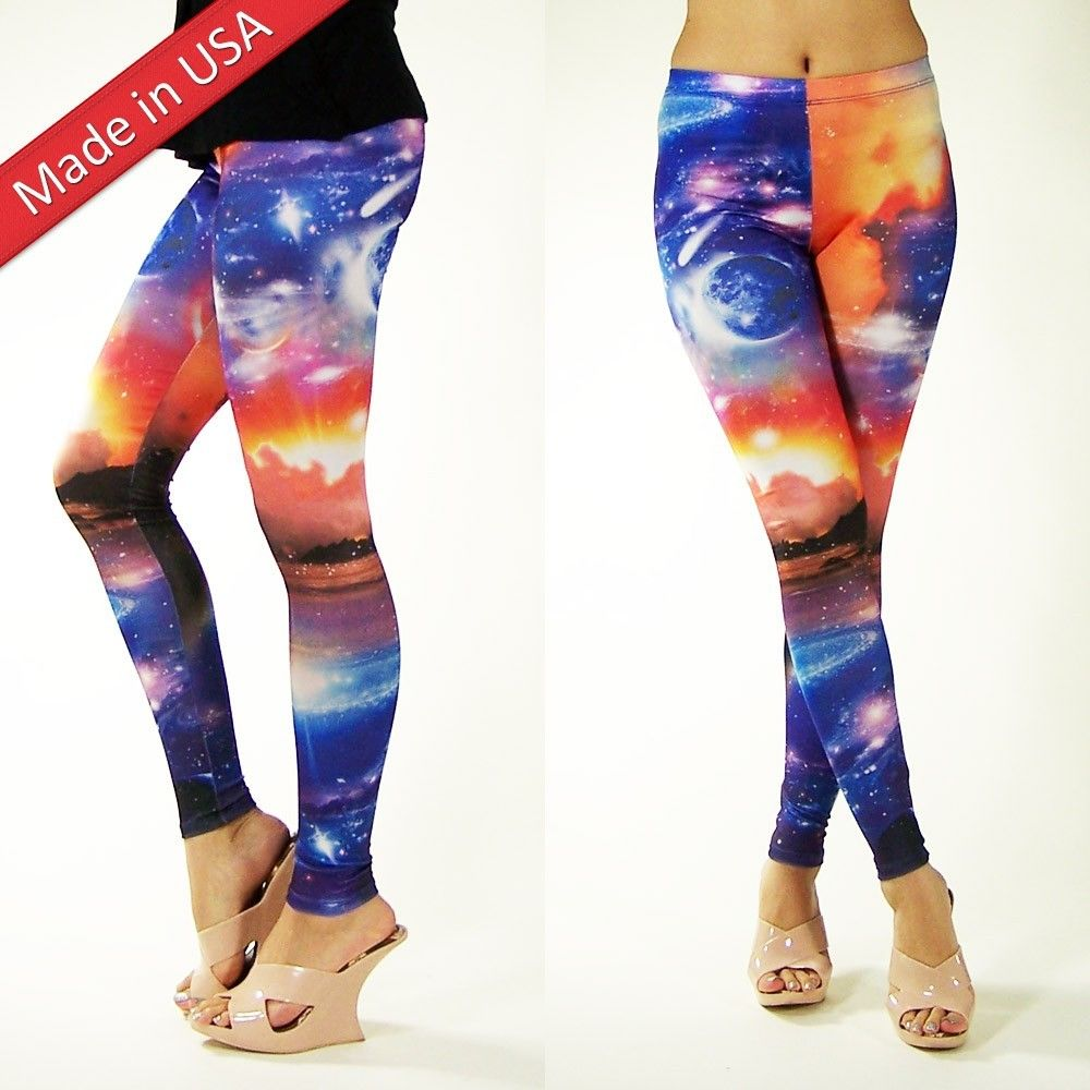 Chic Cosmic Galaxy Leggings Hot Space Graphic Aurora Tights Pants Made in USA