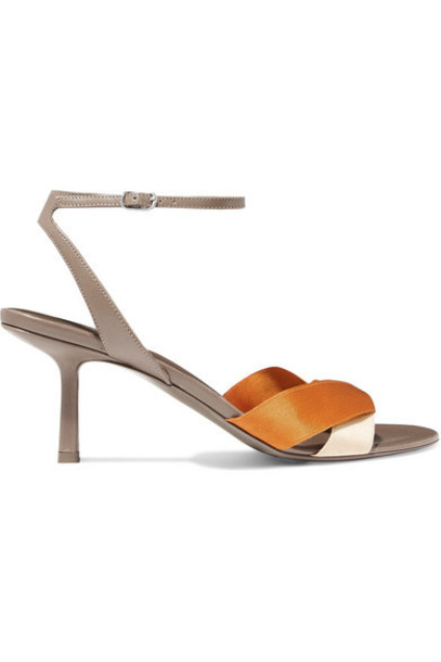 The Row - Ribbons Leather And Satin Sandals - Beige