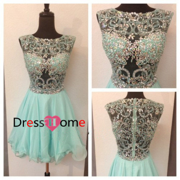 mint green dress rhinestones dress prom prom dress party dress sexy dress