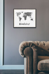 cardigan,print,travel,semi,resistant,archival,watercolor,office outfits,paper,matte,wanderlust,fade,fine,quote on it,map,home decor,poster,inks,collectibles,world