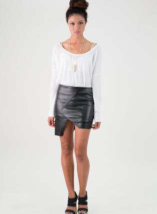 Black Mini Skirt - Black Faux Leather Asymmetrical Hem | UsTrendy