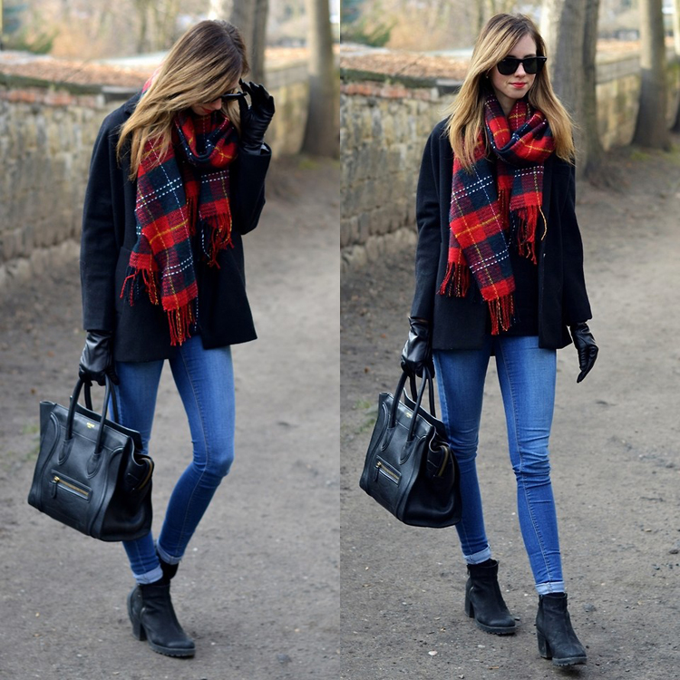 Scotland Check Fringe Scarf in Red - Retro, Indie and Unique Fashion