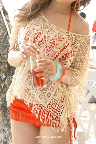swimwear crochet cover up off the shoulder fringe summer summer dress red red swimwear boho bohemian blouse beach bikini halter neck zaful hippie hippie chic dress nail accessories