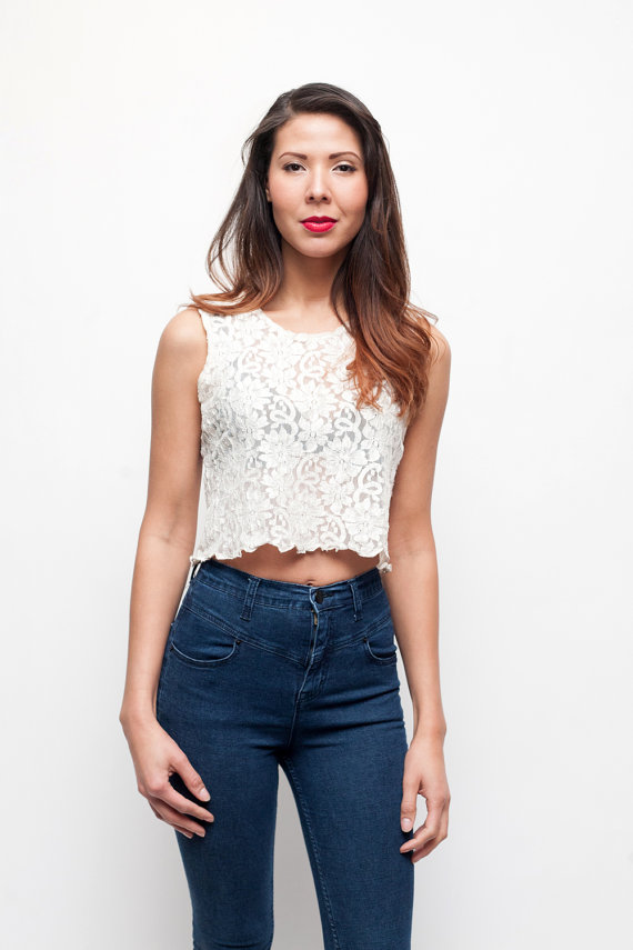 Vintage  Cream Lace Crop Top  Size Medium by sopasse on Etsy