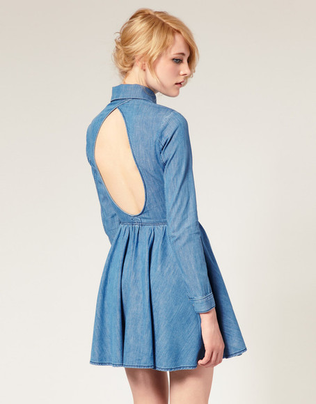 dress denim denim dress backless dress preppy