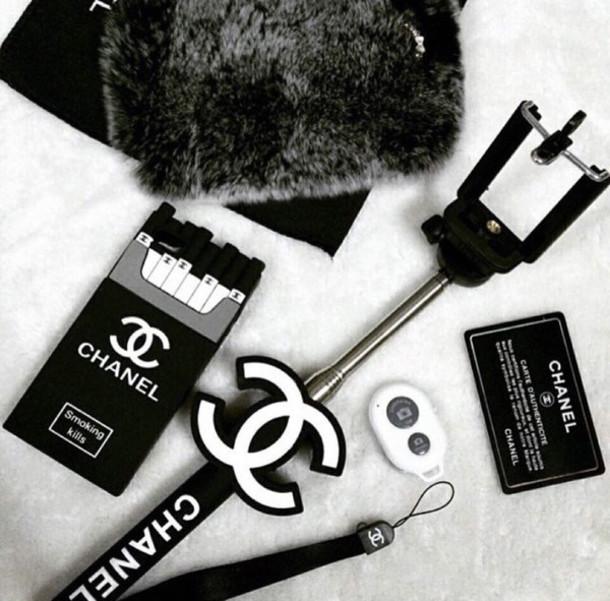 phone cover selfie stic chanel celfie cc smoking kills home accessory selfie stick. Black Bedroom Furniture Sets. Home Design Ideas