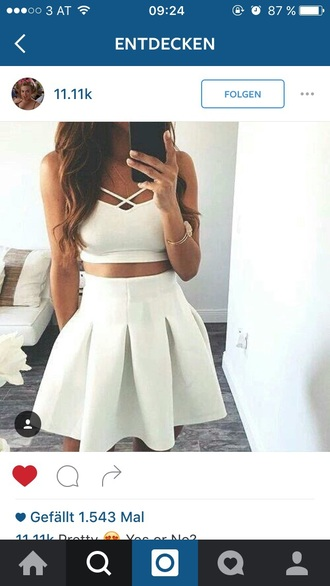 dress crop tops skirt white dress
