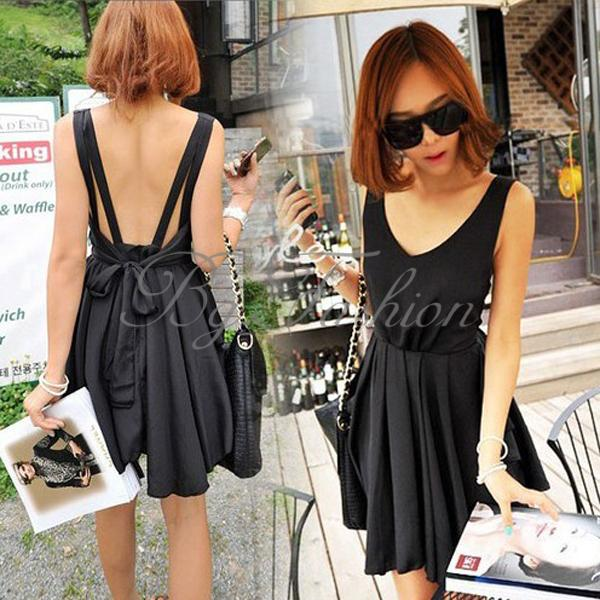 Sexy Women Backless BOW Pleated Clubwear Party Cocktail Skirt Mini Dress 3 Color | eBay