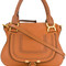 Chloé - marcie tote bag - women - cotton/calf leather - one size, brown, cotton/calf leather