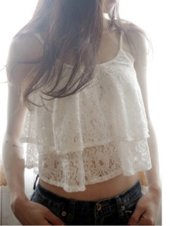 White Lace Two Layered Spaghetti Strap Crop Top Vest - Choies.com