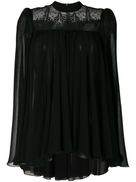 Philosophy di Lorenzo Serafini blouse pleated sheer women black top