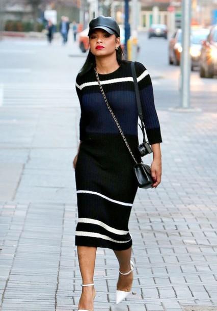 9a1cb6929f49 dress christina milian midi dress spring dress spring outfits long sleeve dress  sweater dress snapback stripes