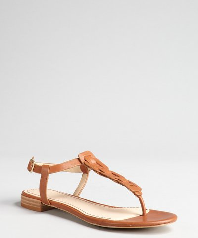 Rachel Zoe gold crinkle  leather 'Gwen' t-strap flat sandals | BLUEFLY up to 70% off designer brands