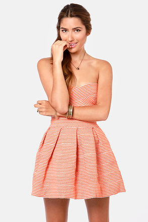 Cute Strapless Dress - Orange Dress - Bandage Dress - $59.00