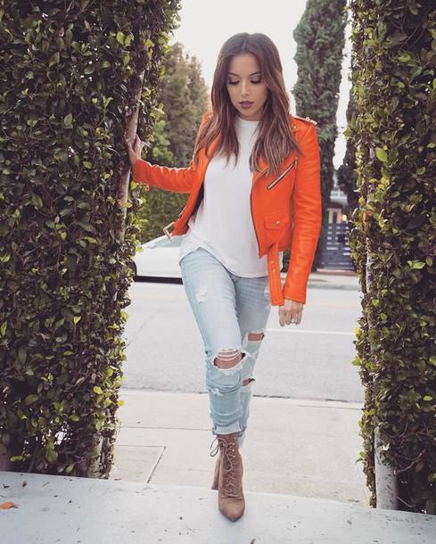 Jacket tumblr orange orange jacket jeans denim light blue jeans cuffed jeans ripped ...
