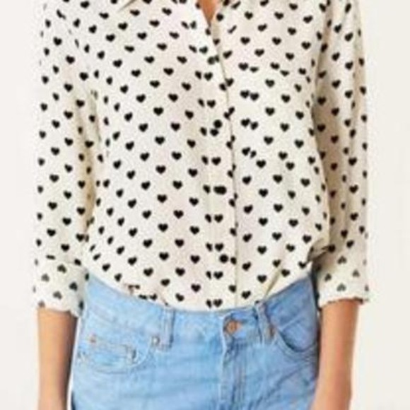 hearts shorts cute shirt girly blouse heart black white fashion tops button up lovely