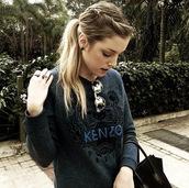 sweater,blue,kenzo sweater,black sweater,winter sweater