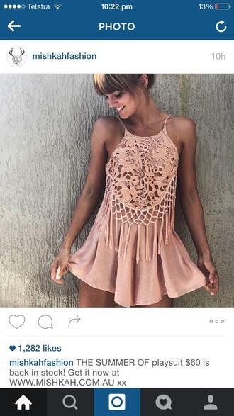 jumpsuit boho playsuit jumpsuit pink crochet