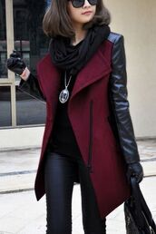 coat,jacket,red,leather,winter outfits,sleeves,pu sleeve,winter coat,jewels,burgundy,burgundy coat,black,warm,selena gomez,pendant,winter jacket,women,leather sleeve coat,leather sleeves,leather handbag,maroon coat,black leather pants,leather pants,skinny leather pants,black t-shirt,black scarf,black sunglasses,black leather gloves,leather gloves