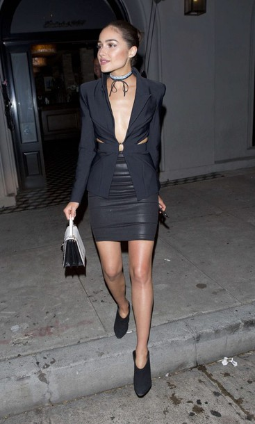 jacket blazer all black everything olivia culpo ankle boots mini skirt skirt choker necklace shoes jewels jewelry black choker silver choker wrap choker necklace