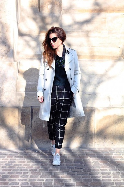 elodie in paris blogger coat checkered trench coat checkered pants
