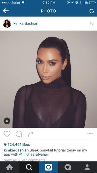 shirt turtleneck see through mesh sheer kim kardashian