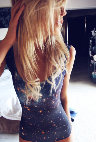 space universe black bodysuit tank top swimwear