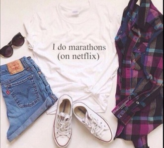 shirt netflix cure fashionista t-shirt quote on it shorts socks pale grunge tumblr cute clothes flannel shirt converse sunglasses denim levi's levi's shorts instagram blouse outfit shoes funny white t-shirt plaid shirt cardigan jacket short sleeve short white black words top teenagers