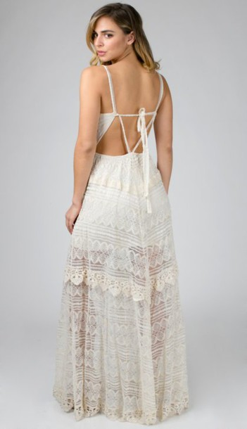 dress boho lace dress lace natural tie back lace maxi dress maxi dress see through triangle chic fashion instagram photoshoot get this look angl love this love full length dress beach wedding vintage cute