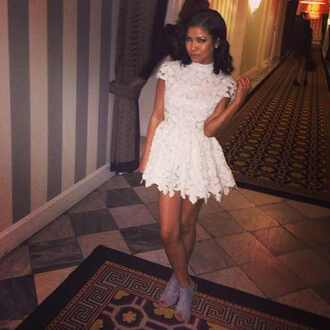 dress lace white cute jhene aiko lace dress gorgous cream dress white dress floral dress short skirt short sleeve skater dress white lace dress