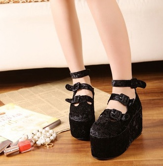 shoes flat platforms black velvet straps buckle oh my love photoshoot hannahpixiesnow